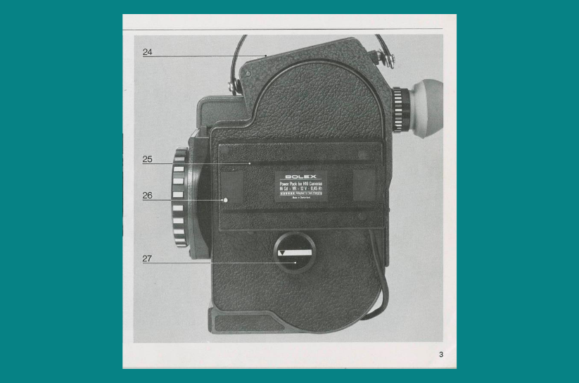 Black and white photograph of a Bolex 16mm camera from the side. The photo is surrounded by a teal border.