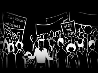 Screen shot from the film Remembering Altab Ali. A black and white drawing of protesters holding banners.